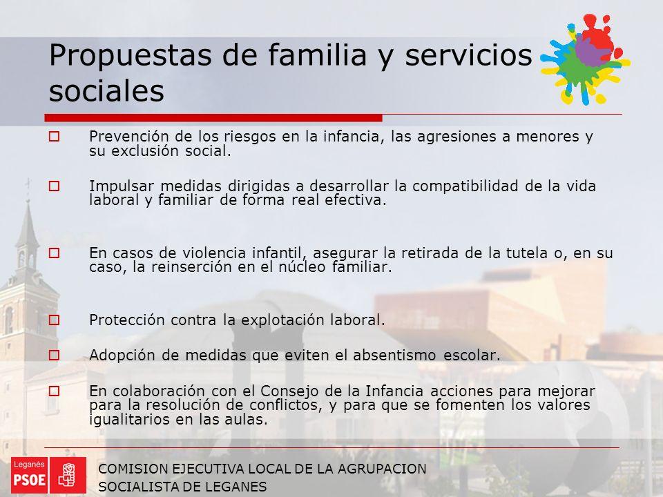 Propuestas de familia y servicios sociales