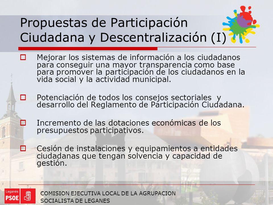 Propuestas de Participación Ciudadana y Descentralización (I)