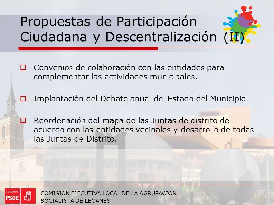 Propuestas de Participación Ciudadana y Descentralización (II)