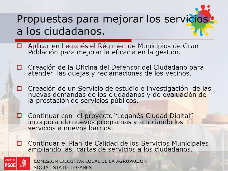Propuestas para mejorar los servicios a los ciudadanos.