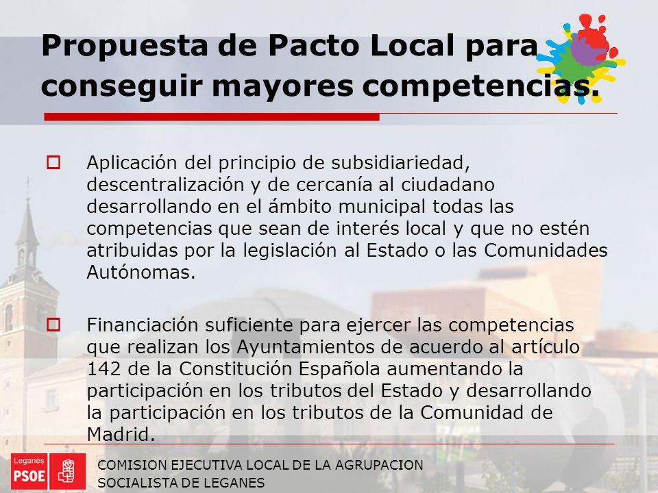 Propuesta de Pacto Local para conseguir mayores competencias.