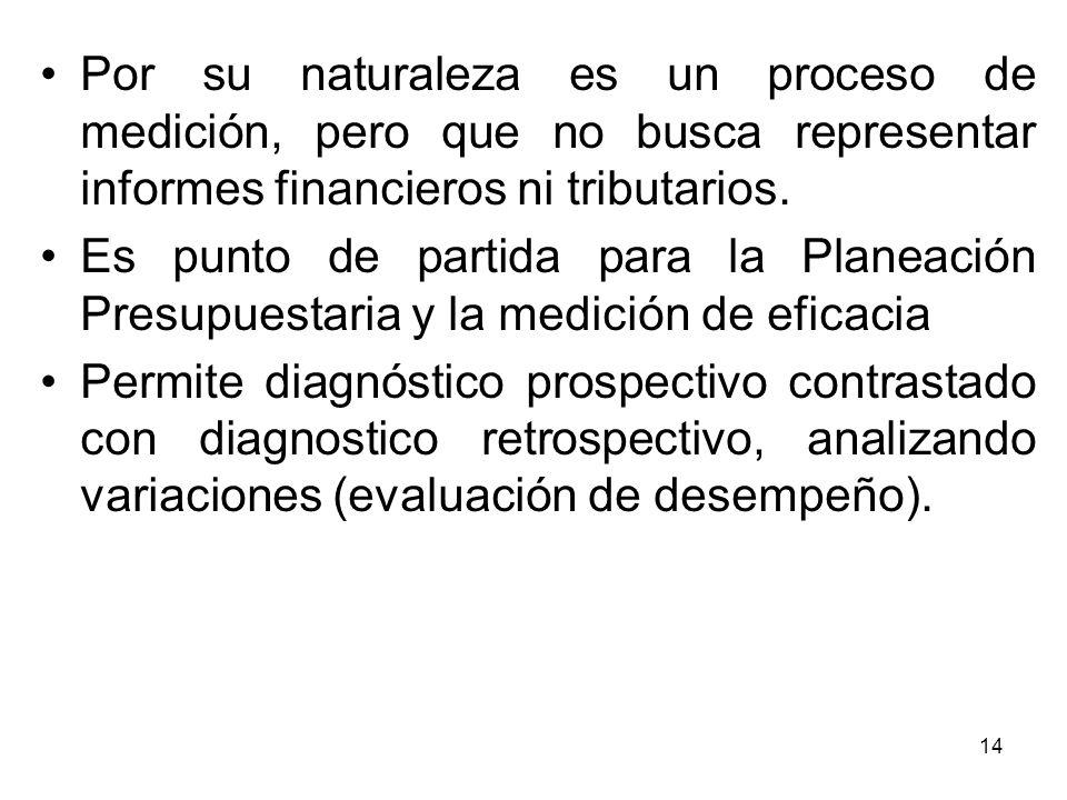 Por su naturaleza es un proceso de medición, pero que no busca representar informes financieros ni tributarios.