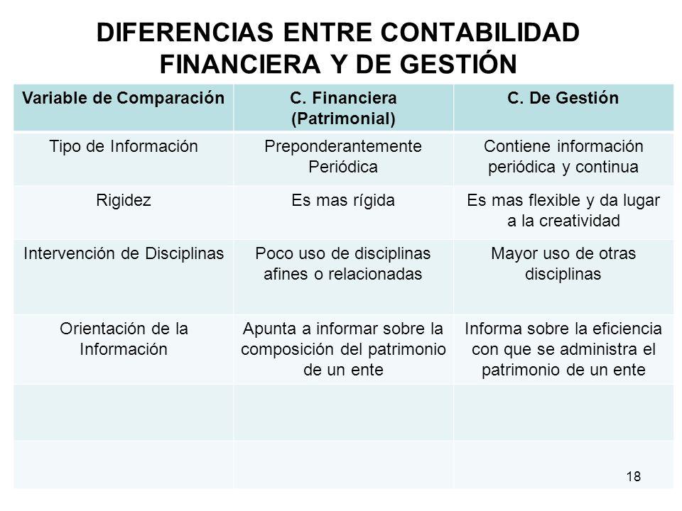 DIFERENCIAS ENTRE CONTABILIDAD FINANCIERA Y DE GESTIÓN