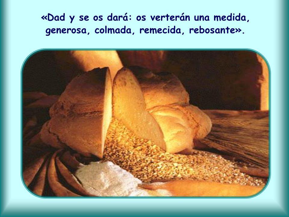 «Dad y se os dará: os verterán una medida, generosa, colmada, remecida, rebosante».