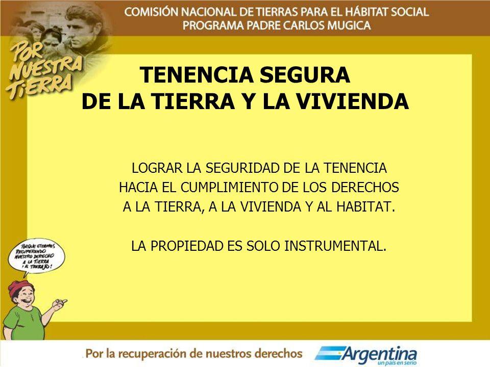 TENENCIA SEGURA DE LA TIERRA Y LA VIVIENDA