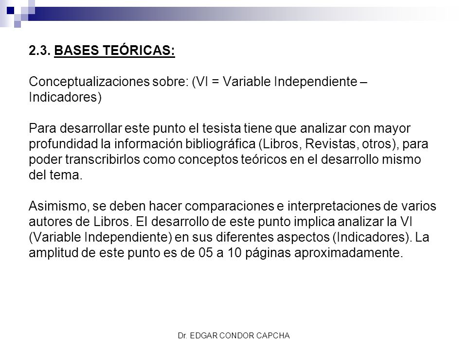 Conceptualizaciones sobre: (VI = Variable Independiente – Indicadores)