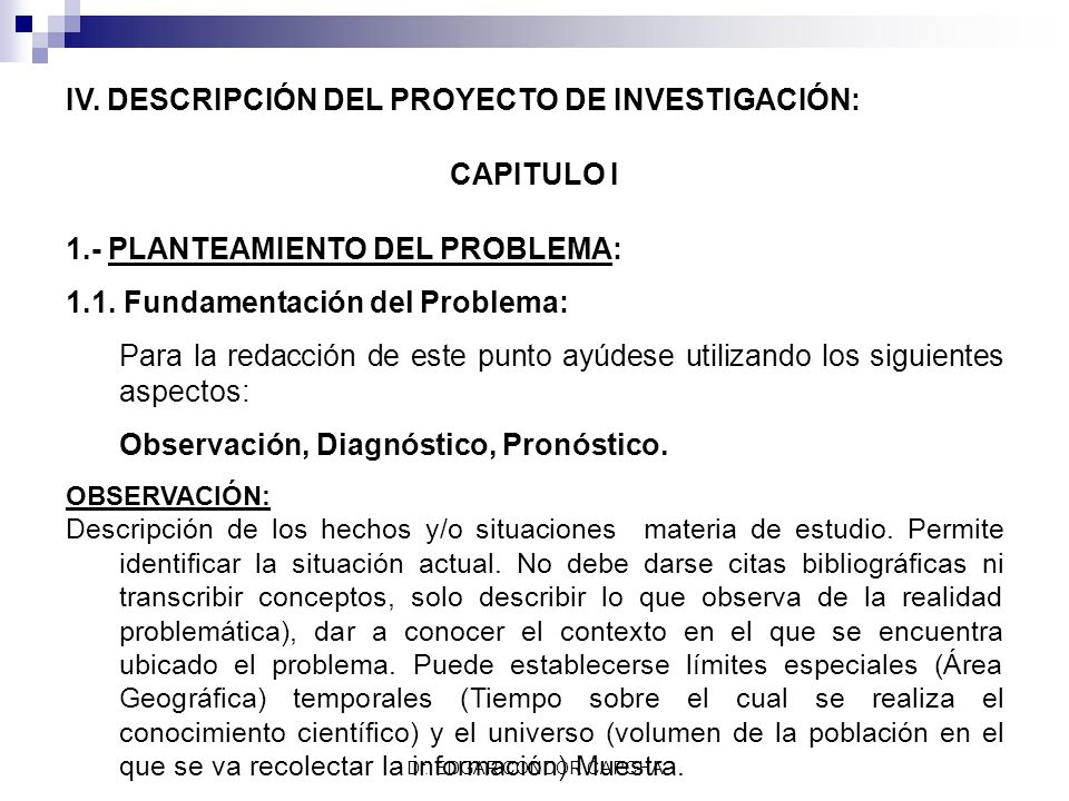 IV. DESCRIPCIÓN DEL PROYECTO DE INVESTIGACIÓN: CAPITULO I