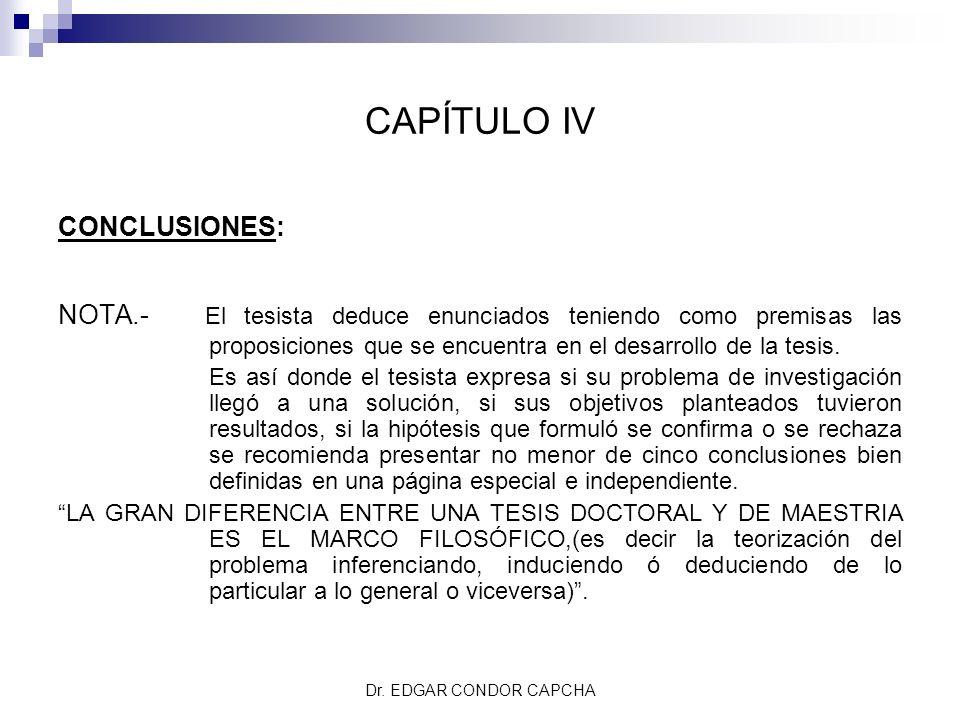 CAPÍTULO IV CONCLUSIONES: