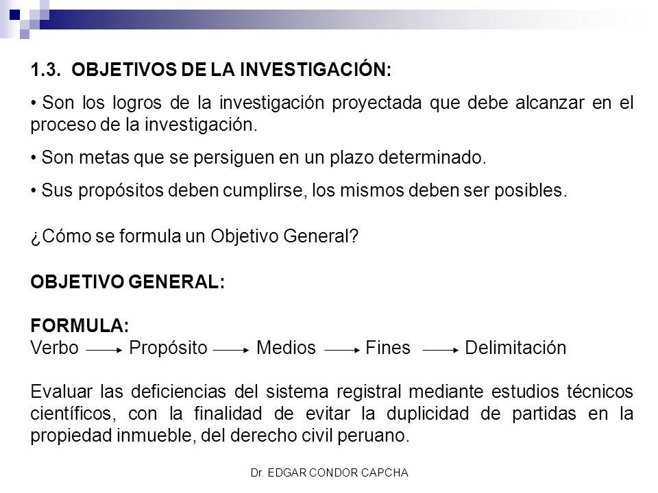1.3. OBJETIVOS DE LA INVESTIGACIÓN: