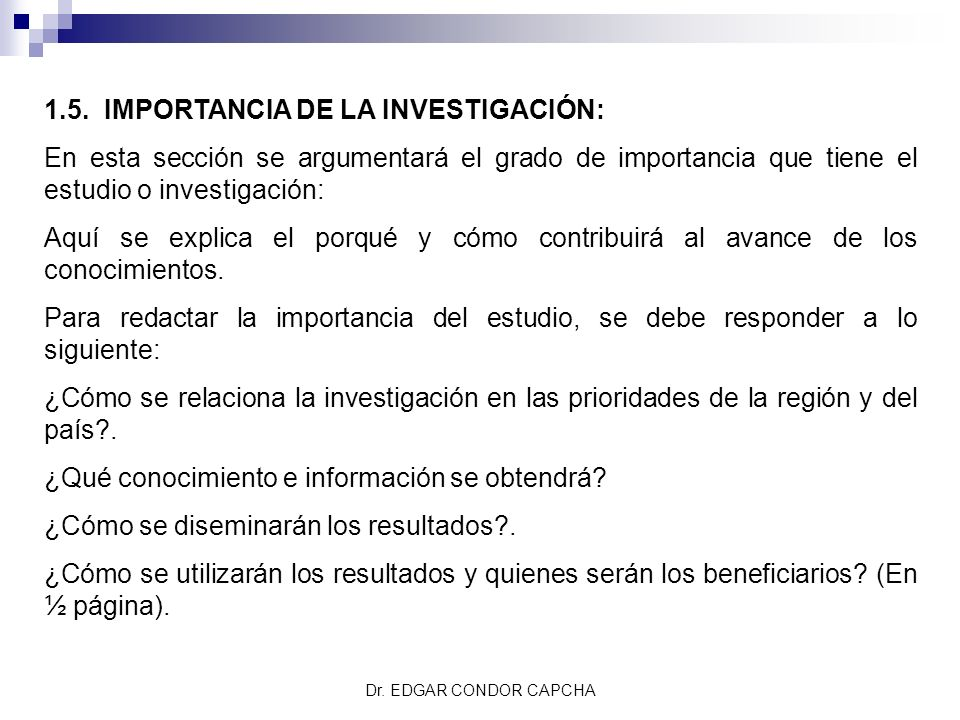 1.5. IMPORTANCIA DE LA INVESTIGACIÓN: