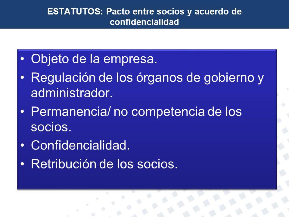 ESTATUTOS: Pacto entre socios y acuerdo de confidencialidad
