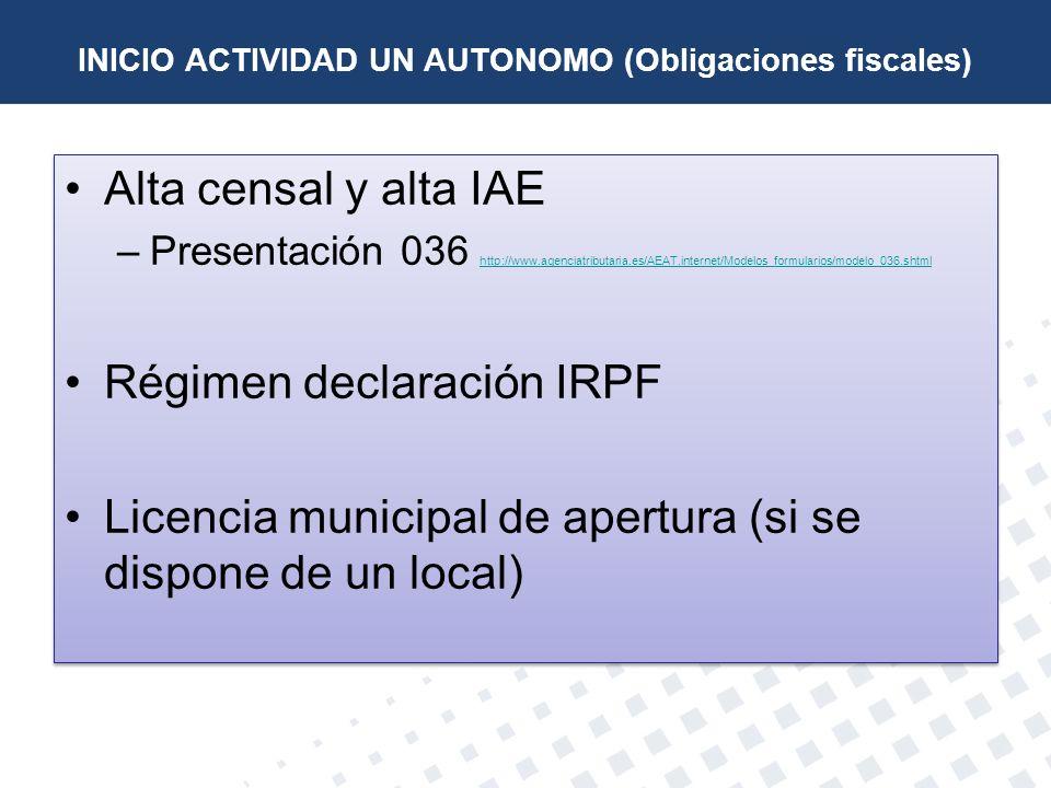 INICIO ACTIVIDAD UN AUTONOMO (Obligaciones fiscales)