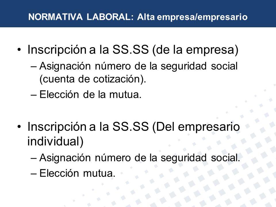 NORMATIVA LABORAL: Alta empresa/empresario
