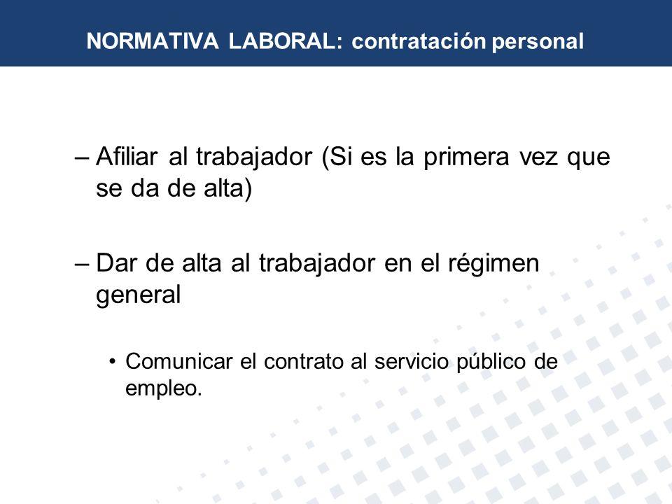 NORMATIVA LABORAL: contratación personal