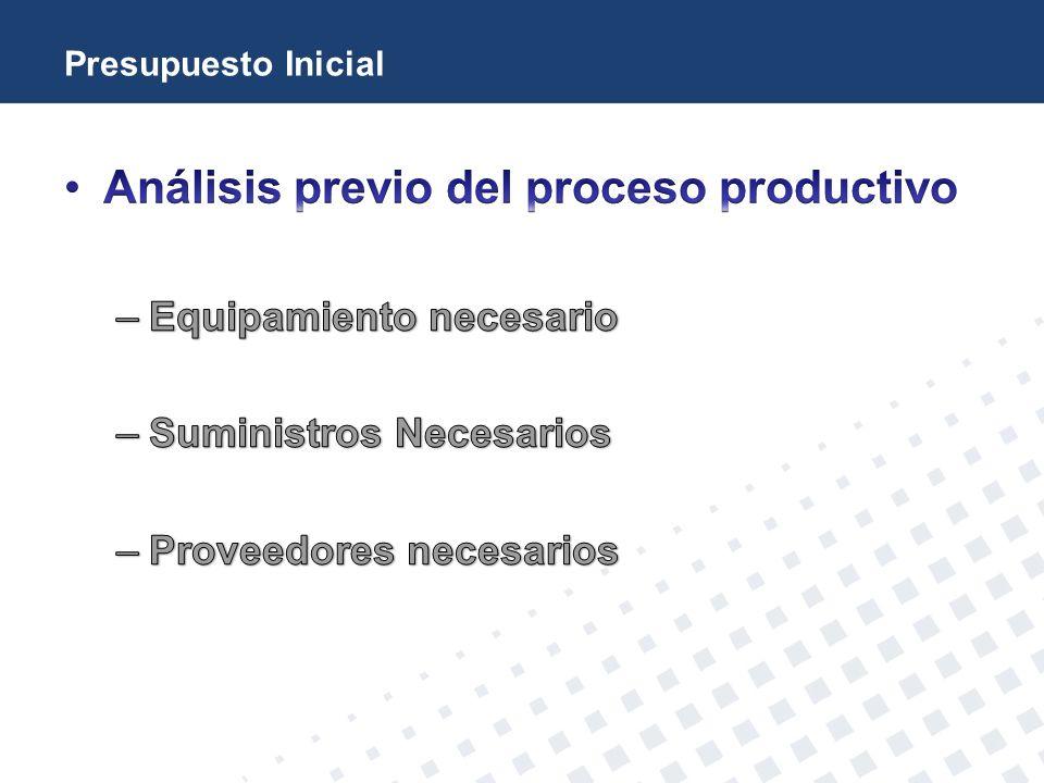 Análisis previo del proceso productivo