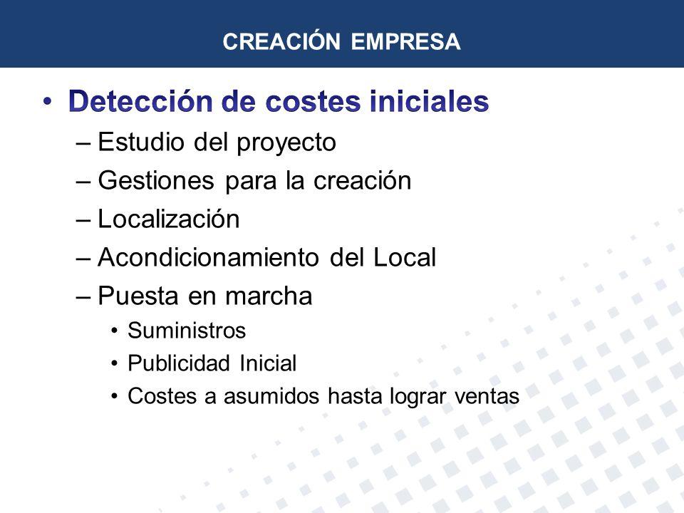 Detección de costes iniciales
