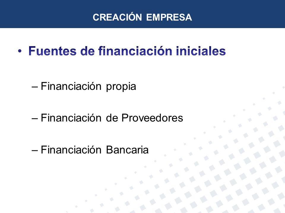 Fuentes de financiación iniciales