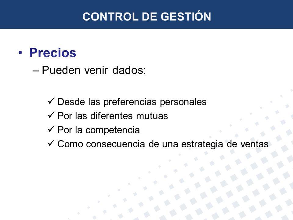 Precios CONTROL DE GESTIÓN Pueden venir dados: