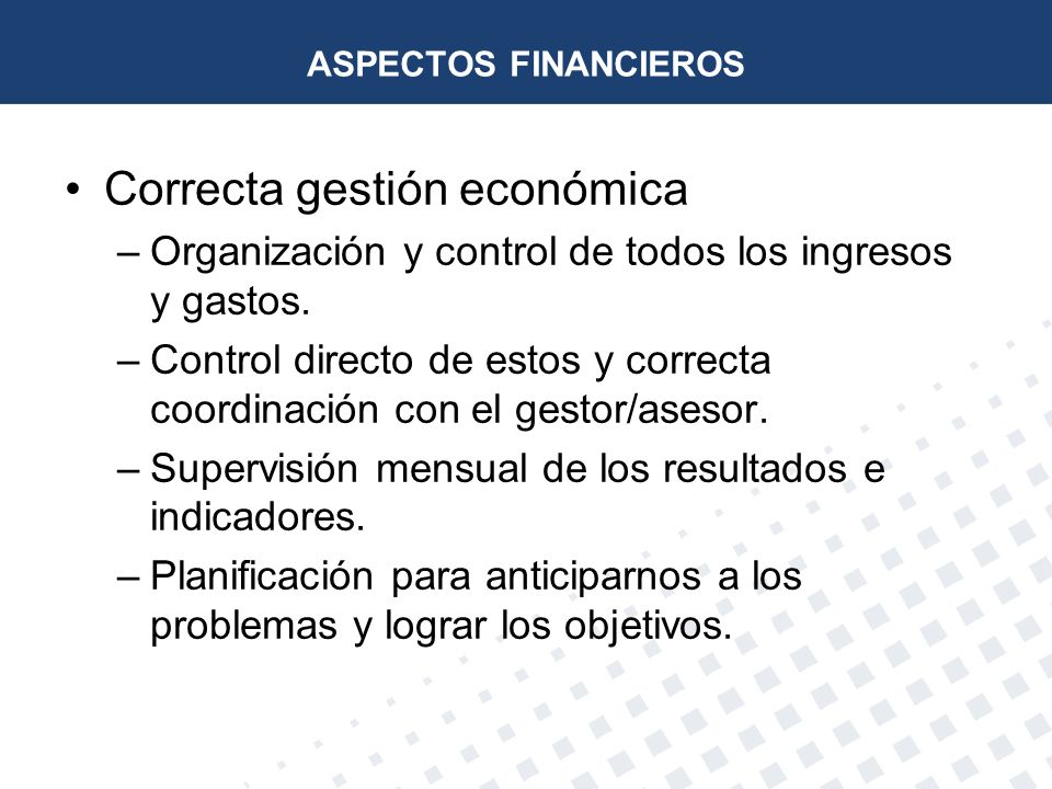 Correcta gestión económica