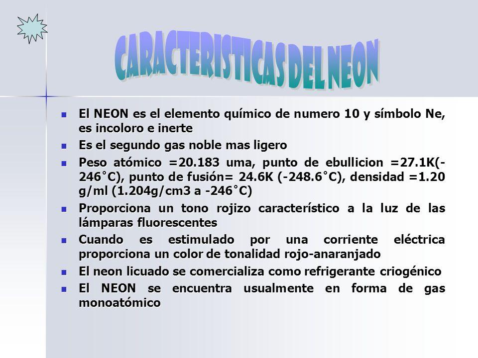 CARACTERISTICAS DEL NEON