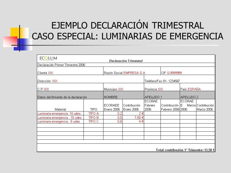 EJEMPLO DECLARACIÓN TRIMESTRAL CASO ESPECIAL: LUMINARIAS DE EMERGENCIA