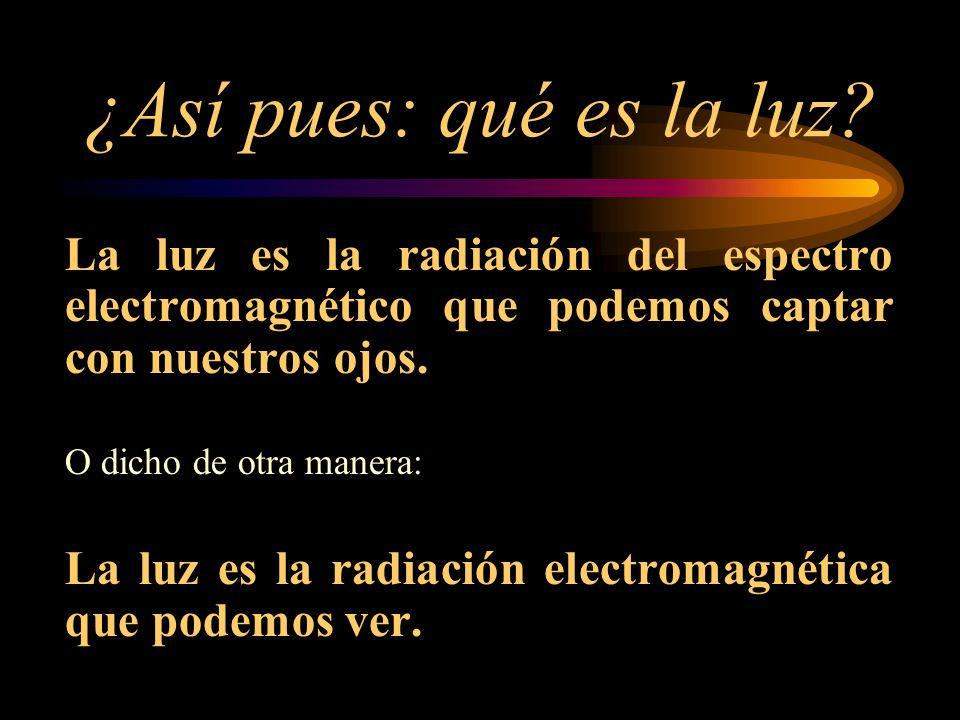 ¿Así pues: qué es la luz La luz es la radiación del espectro electromagnético que podemos captar con nuestros ojos.