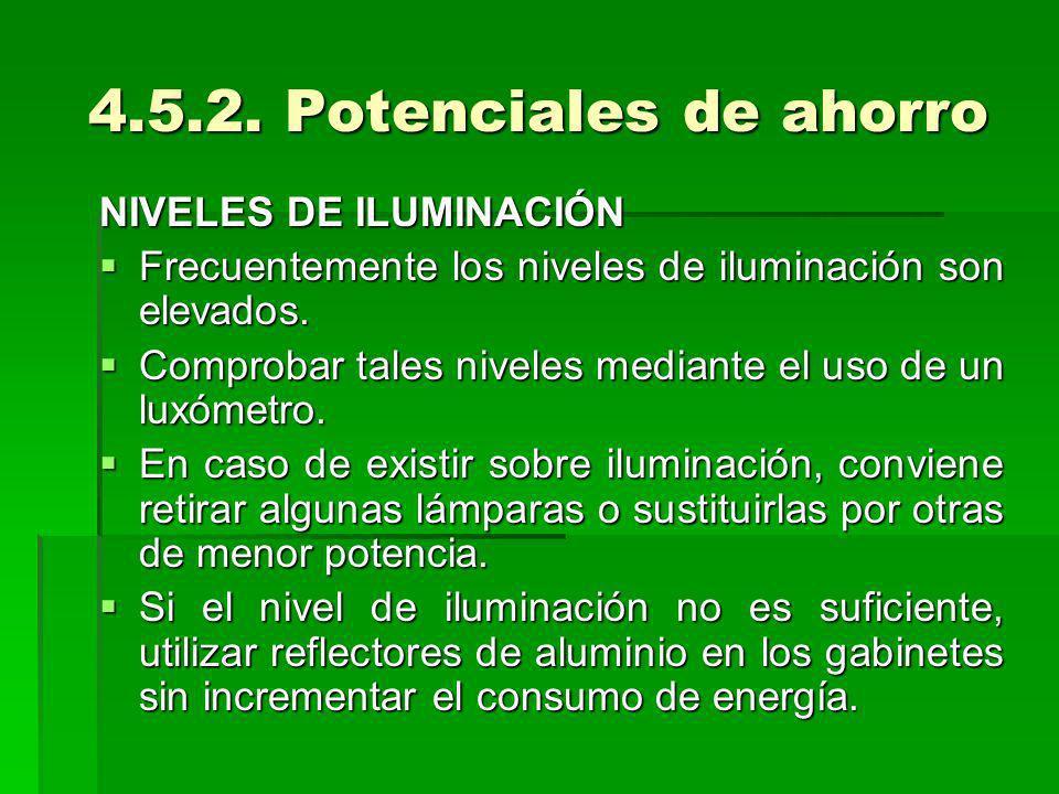 4.5.2. Potenciales de ahorro NIVELES DE ILUMINACIÓN