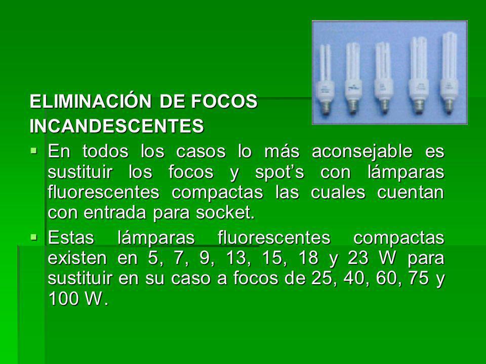 ELIMINACIÓN DE FOCOS INCANDESCENTES.