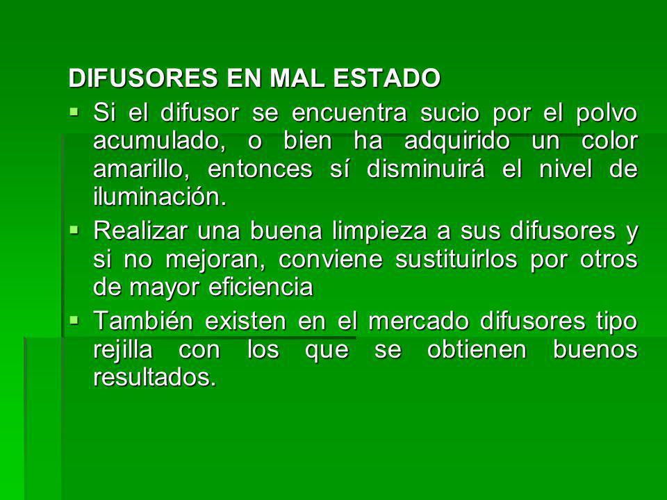 DIFUSORES EN MAL ESTADO