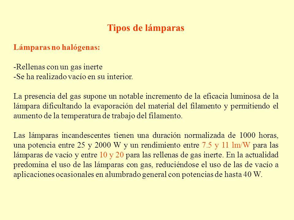 Tipos de lámparas Lámparas no halógenas: Rellenas con un gas inerte