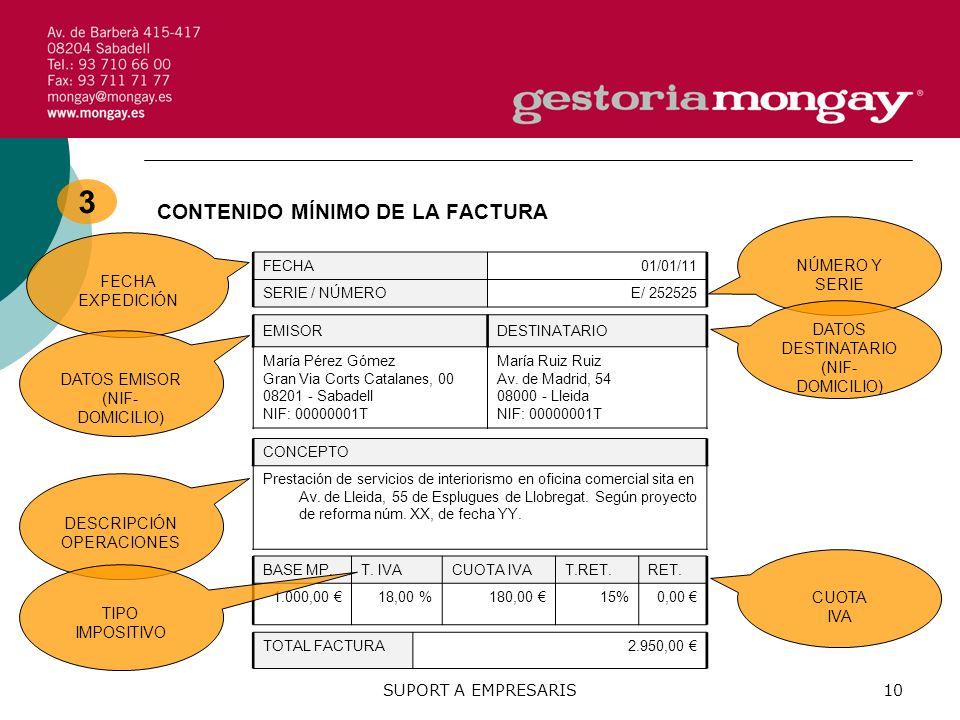 3 CONTENIDO MÍNIMO DE LA FACTURA NÚMERO Y SERIE FECHA EXPEDICIÓN DATOS