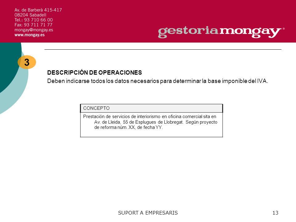 3 DESCRIPCIÓN DE OPERACIONES