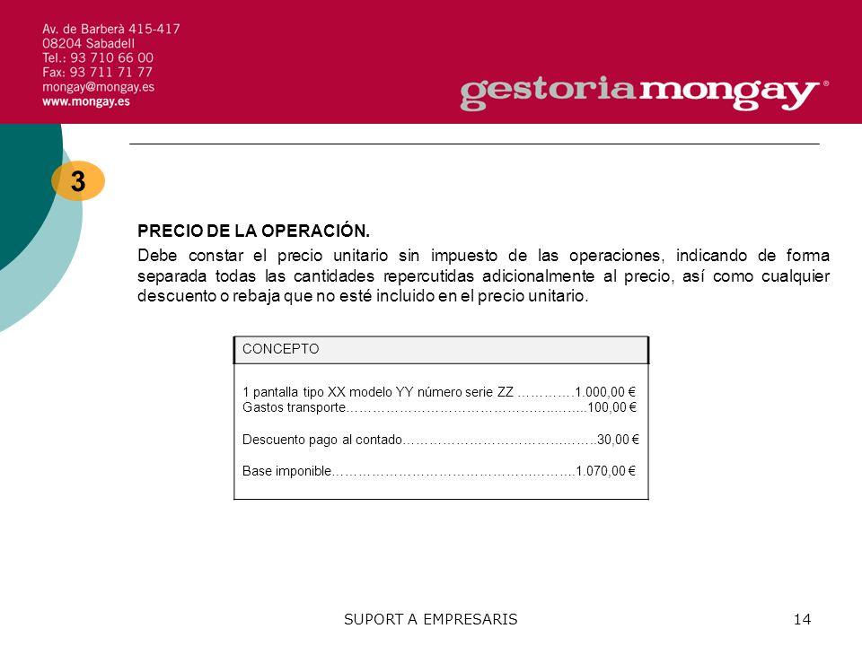 3 PRECIO DE LA OPERACIÓN.