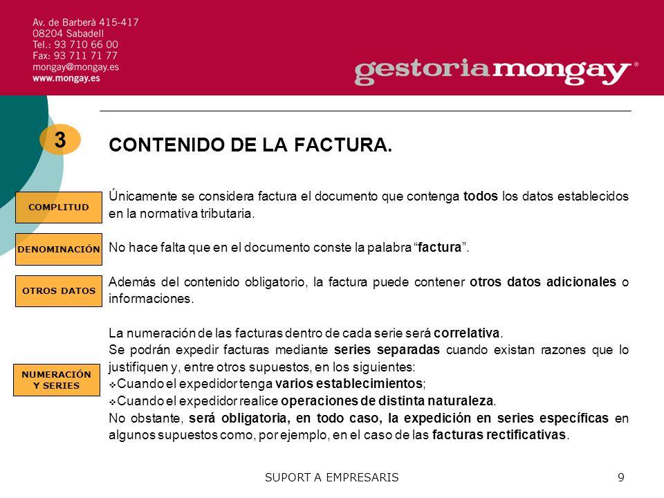 3 CONTENIDO DE LA FACTURA.
