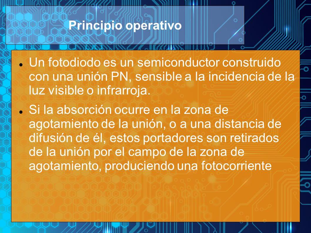 Principio operativo Un fotodiodo es un semiconductor construido con una unión PN, sensible a la incidencia de la luz visible o infrarroja.
