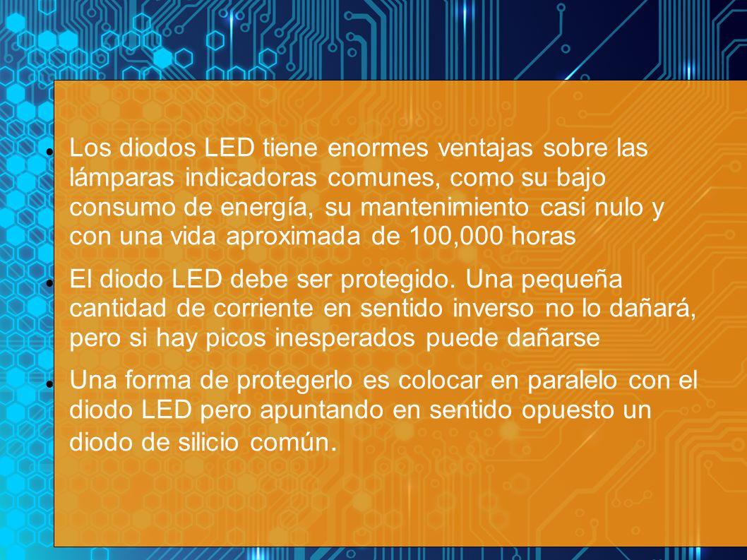 Los diodos LED tiene enormes ventajas sobre las lámparas indicadoras comunes, como su bajo consumo de energía, su mantenimiento casi nulo y con una vida aproximada de 100,000 horas