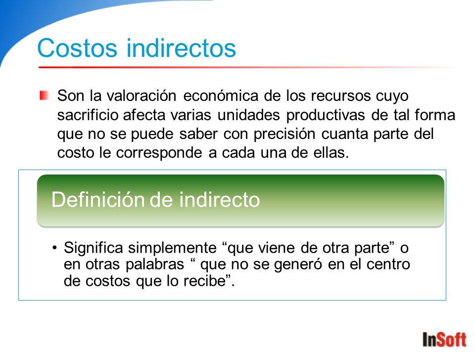 Costos indirectos Definición de indirecto
