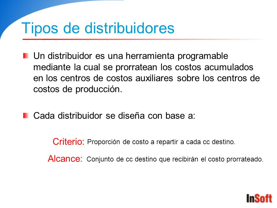 Tipos de distribuidores