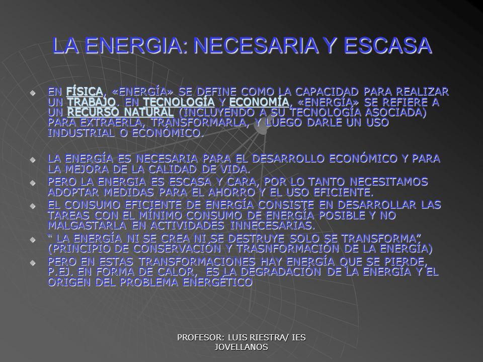 LA ENERGIA: NECESARIA Y ESCASA