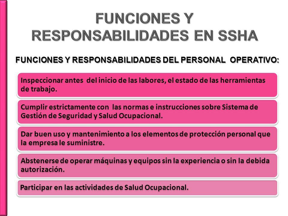 FUNCIONES Y RESPONSABILIDADES EN SSHA