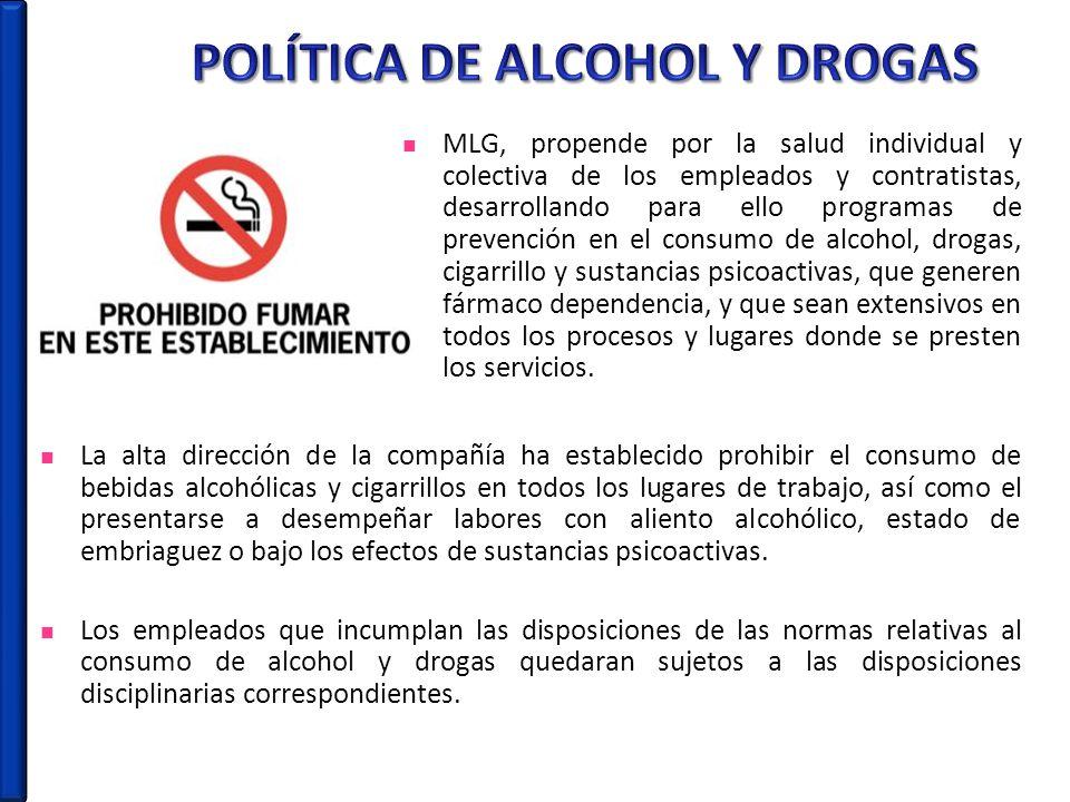 POLÍTICA DE ALCOHOL Y DROGAS