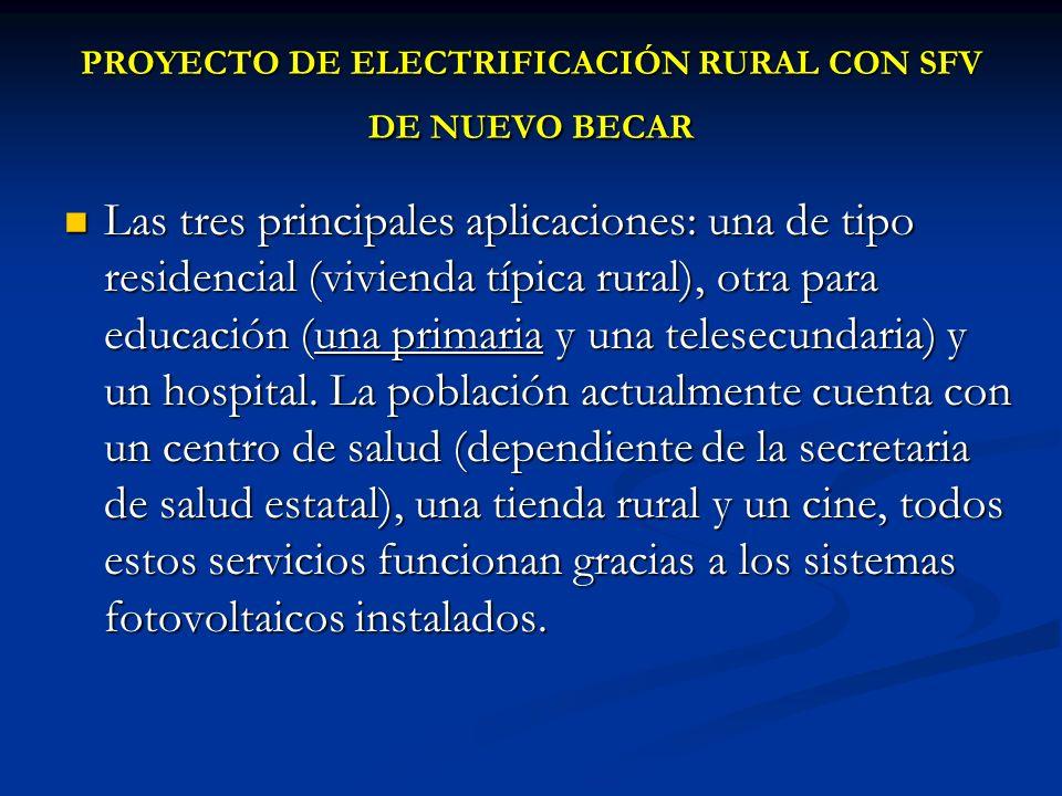 PROYECTO DE ELECTRIFICACIÓN RURAL CON SFV DE NUEVO BECAR