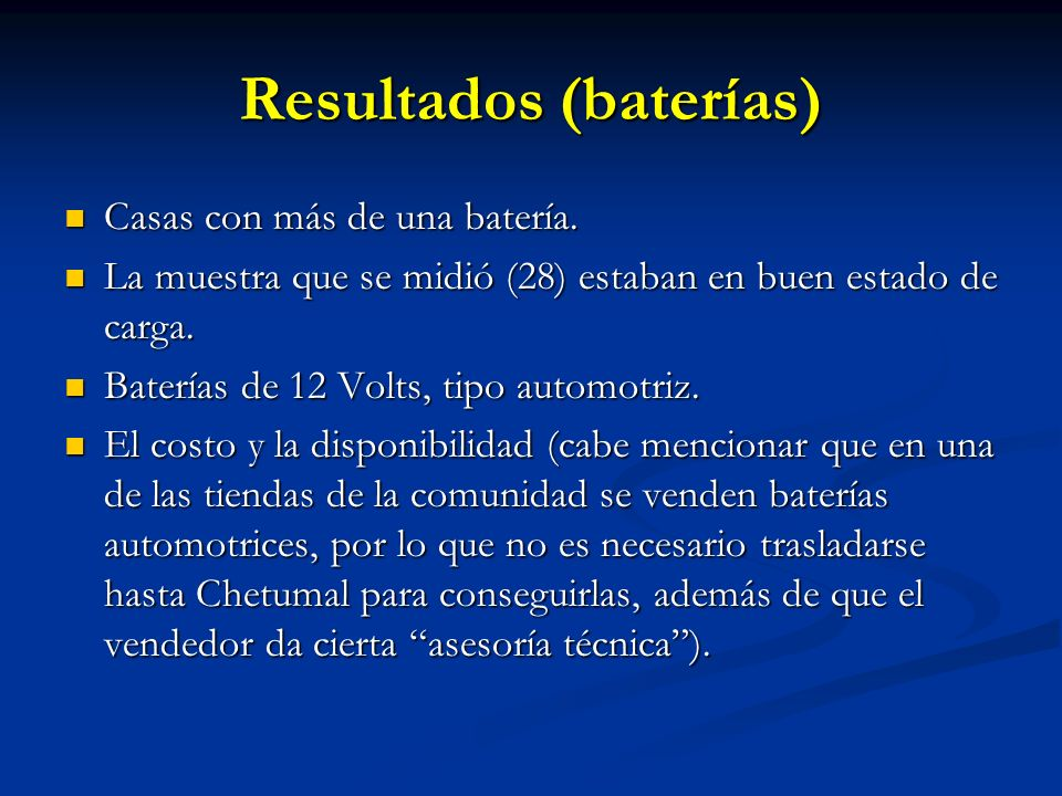 Resultados (baterías)