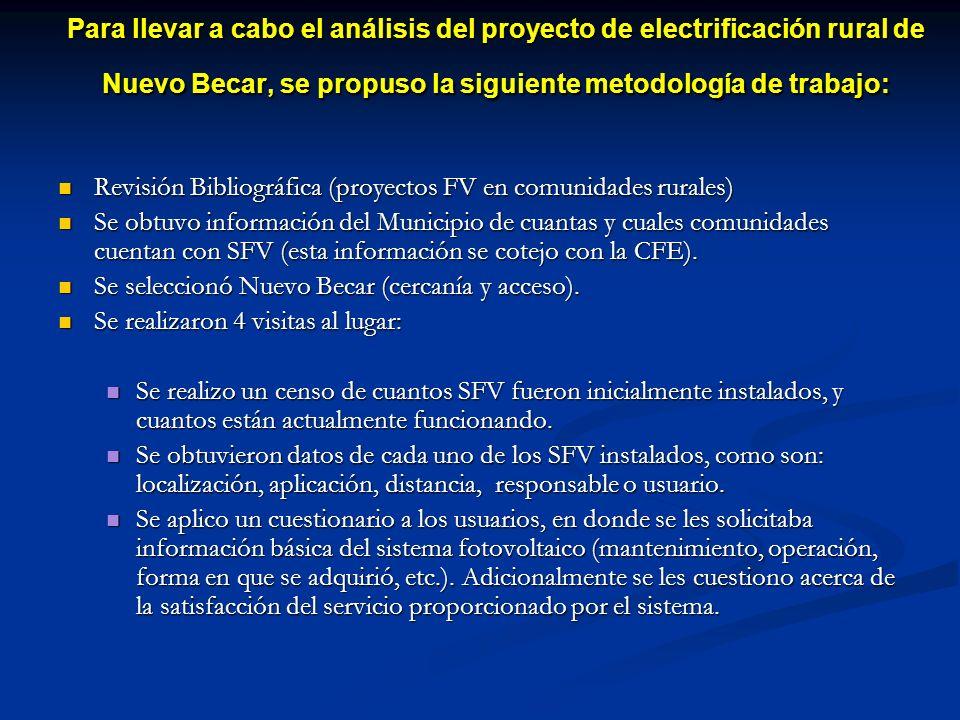 Para llevar a cabo el análisis del proyecto de electrificación rural de Nuevo Becar, se propuso la siguiente metodología de trabajo: