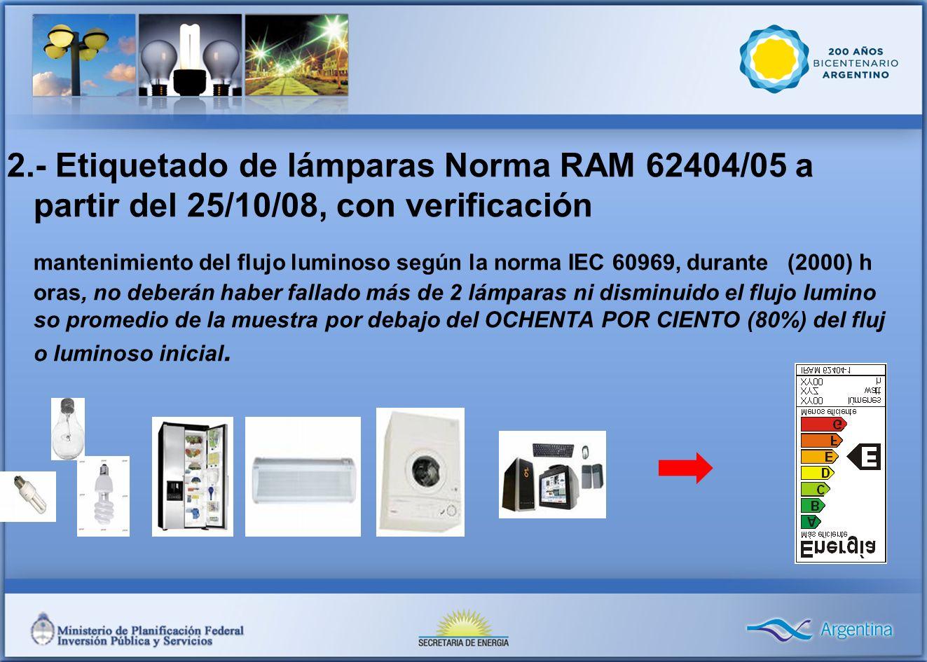 2.- Etiquetado de lámparas Norma RAM 62404/05 a partir del 25/10/08, con verificación