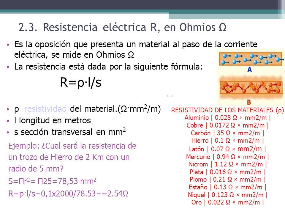 R=ρ·l/s 2.3. Resistencia eléctrica R, en Ohmios Ω
