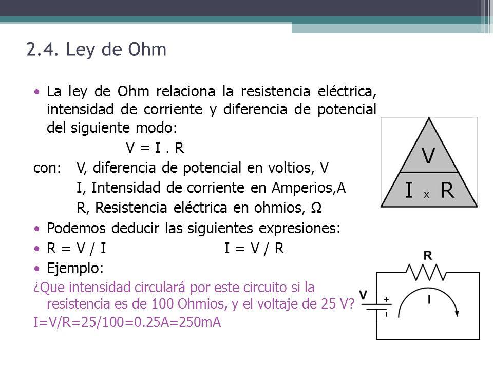 2.4. Ley de Ohm La ley de Ohm relaciona la resistencia eléctrica, intensidad de corriente y diferencia de potencial del siguiente modo: