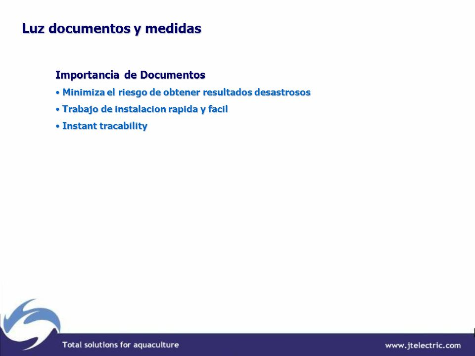 Luz documentos y medidas