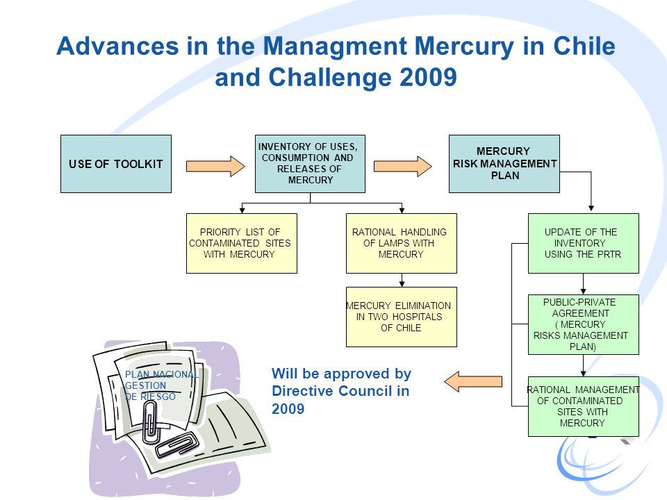 Advances in the Managment Mercury in Chile and Challenge 2009