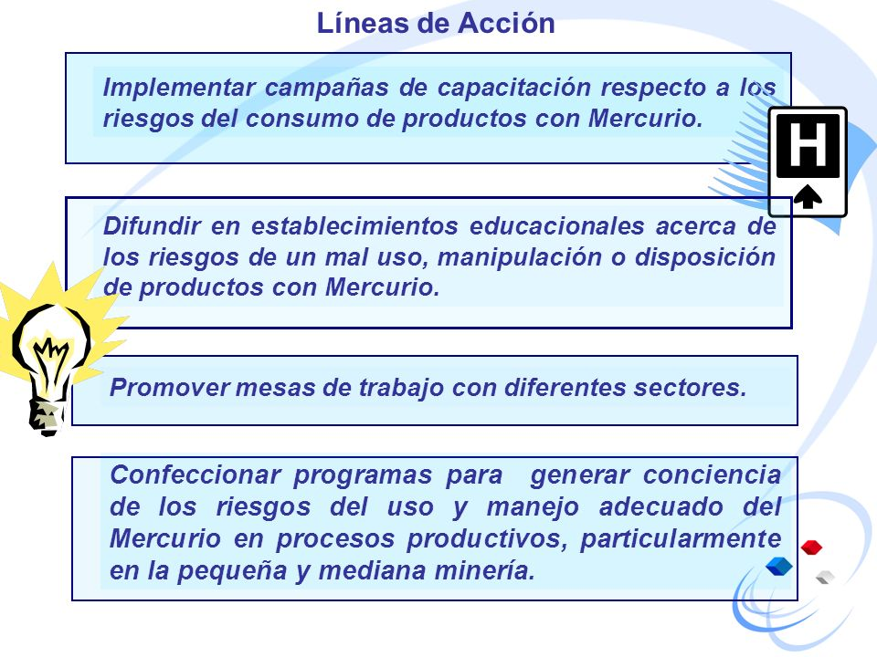 Líneas de Acción Implementar campañas de capacitación respecto a los riesgos del consumo de productos con Mercurio.
